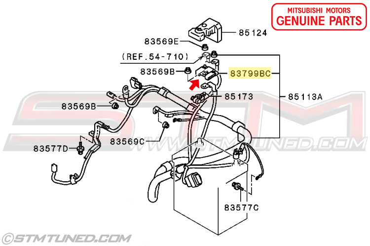 MN164187   OEM MITSUBISHI POSITIVE BATTERY FUSIBLE LINK FOR EVO 8/9 WITHOUT ACD   EVOLUTION VIII ...